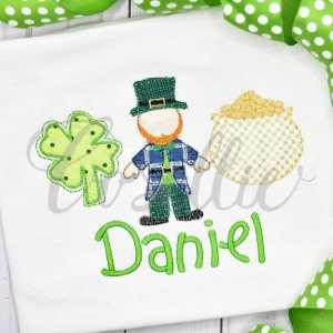 St. Patty boy trio embroidery design, Leprechaun, Pot of gold, Four leaf clover, Vintage stitch embroidery design, Applique, Machine embroidery design, Blanket stitch, Beanstitch, Vintage