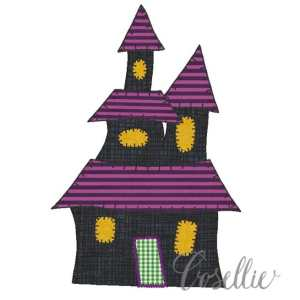 Haunted house embroidery design, Halloween, Ghost, Vintage Halloween, Vintage stitch embroidery design, Applique, Machine embroidery design, Blanket stitch, Beanstitch, Vintage