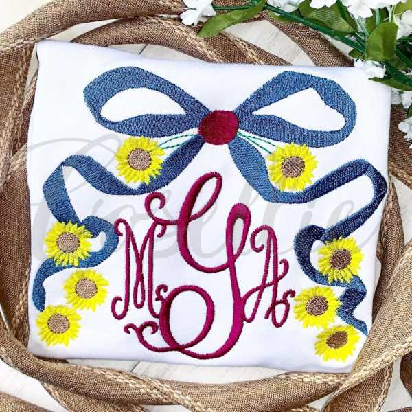 Flowy sunflower bow embroidery design, Simple applique, Sunflower, Bow, Flowy bow, Girl, Girly bow, Ribbon, Fall leaves, Name frame, Font frame, Monogram frame, Fall, Pumpkin, Crow, Thanksgiving embroidery design, Vintage stitch embroidery design, Applique, Machine embroidery design, Blanket stitch, Beanstitch, Vintage, Classic, Sketch