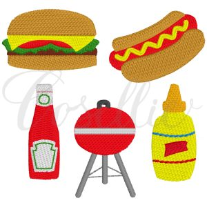 Mini grill embroidery designs, Build your own, Ketchup, Mustard, Cheeseburger embroidery design, Hamburger, Hotdog embroidery design, Grill, Memorial Day, Cookout, Party, Vintage stitch embroidery design, Applique, Machine embroidery design, Blanket stitch, Beanstitch, Vintage
