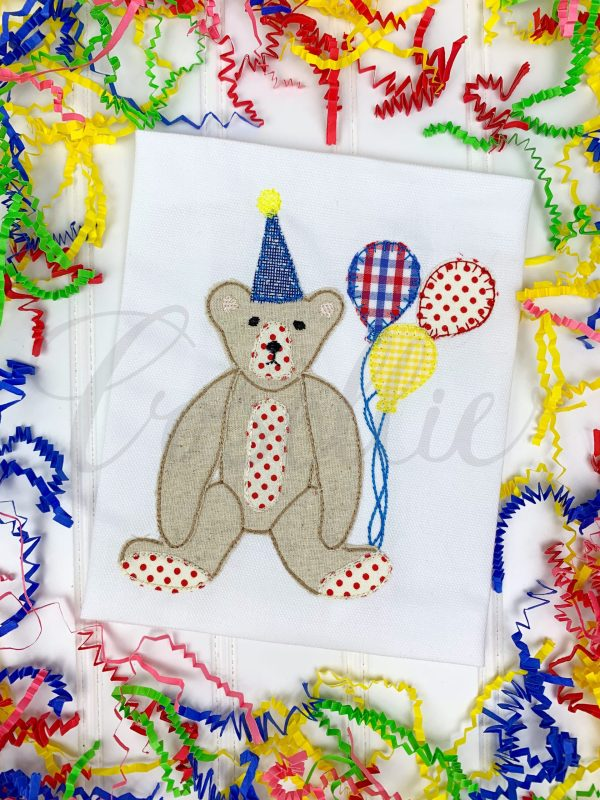 Teddy birthday applique embroidery design, Birthday bear, Birthday Teddy bear, Boy birthday, Girl birthday, Bear, Teddy bear embroidery design, Vintage bear, Classic teddy bear, Boy, Girl, Vintage stitch embroidery design, Applique, Machine embroidery design, Blanket stitch, Beanstitch, Vintage, Classic