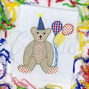 Teddy birthday applique embroidery design, Birthday bear, Birthday Teddy bear, Boy birthday, Girl birthday, Bear, Teddy bear embroidery design, Vintage bear, Classic teddy bear, Boy, Girl, Vintage stitch embroidery design, Applique, Machine embroidery design, Blanket stitch, Beanstitch, Vintage, Classic