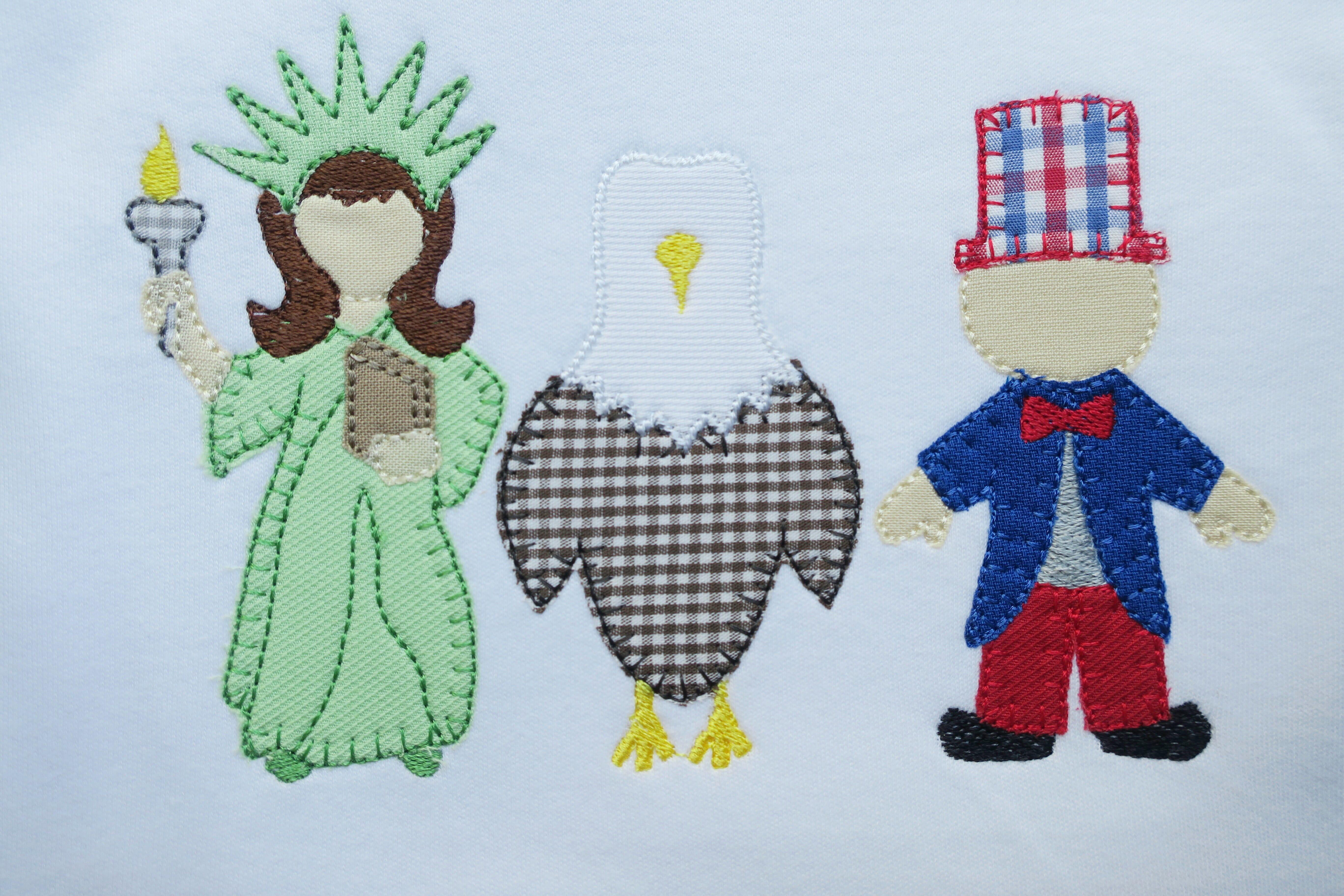 Patriotic trio embroidery design embroidery design cosellie