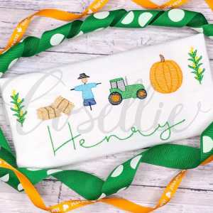 Harvest fall minis embroidery designs, Build your own, Simple applique, Fall leaves, Scarecrow, Hay, Wheat, Corn, Tractor, Fall, Pumpkin, Crow, Thanksgiving embroidery design, Vintage stitch embroidery design, Applique, Machine embroidery design, Blanket stitch, Beanstitch, Vintage, Classic, Sketch
