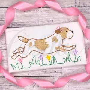 Running girl dog embroidery design, Puppy dog, Dog, Running dog, Running puppy, Girl dog, Girl puppy, Boy dog, Boy puppy, Boy, Vintage stitch embroidery design, Applique, Machine embroidery design, Blanket stitch, Beanstitch, Vintage, Classic
