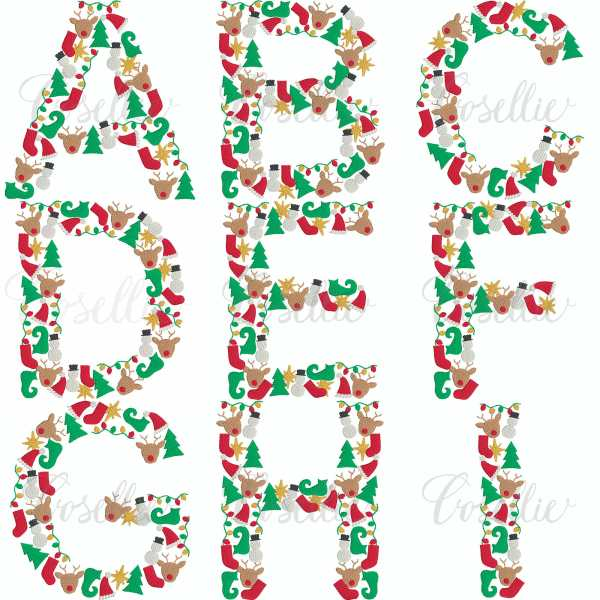 Christmas font individual letters, Christmas lights, Lights, Reindeer, Rudolph, Santa, Santa hat, Christmas tree, Tree, Elf shoe, Elf, Snowman, Star, Nativity, Christmas font, Font, Embroidery design, Block letters, Build your own, Vintage stitch embroidery design, Applique, Machine embroidery design, Blanket stitch, Beanstitch, Vintage, Classic, Sketch