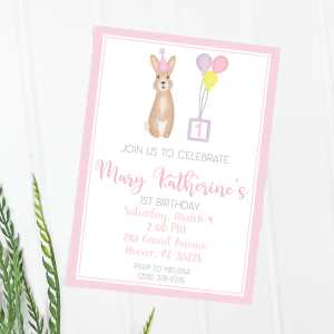 Birthday bunny pink invitation, Girl birthday, First birthday, second birthday, third birthday, fourth birthday, fifth birthday, Birthday invitation, Bunny invitation, Editable invitation, Print from home invitation, DIY invitation, Invitation template