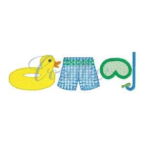 Boy pool Trio embroidery design, Boy summer embroidery design, swimsuit, snorkel, swimming, pool, beach, Spring embroidery design, Vintage stitch embroidery design, Applique, Machine embroidery design, Blanket stitch, Beanstitch, Vintage