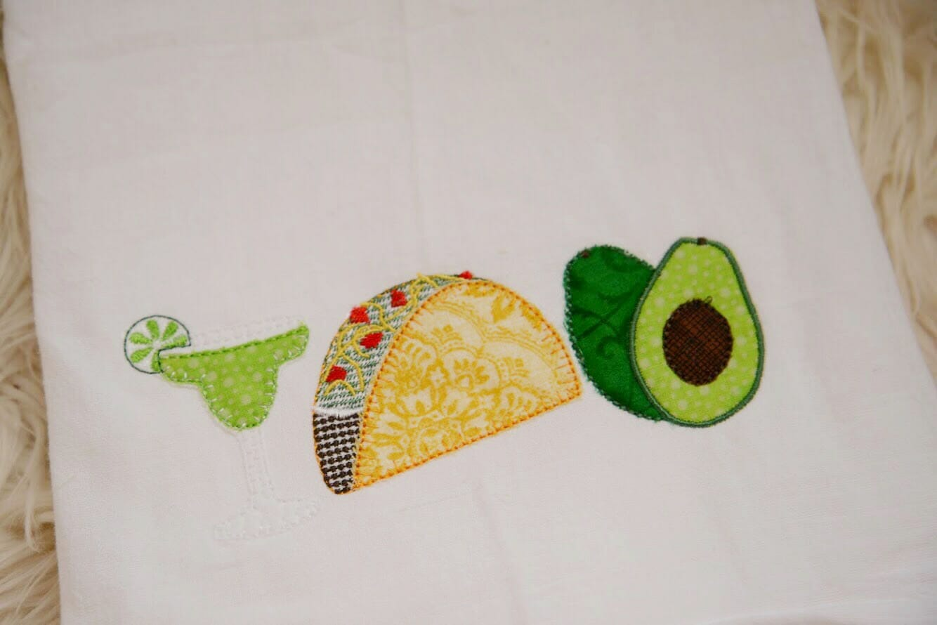 Taco drink trio embroidery design embroidery design cosellie