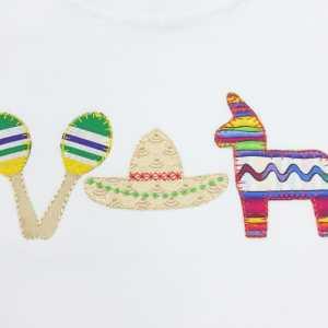 Fiesta applique embroidery design, Pinata embroidery design, Cinco de Mayo, Maracas, Sombrero, Mexico, Party, Vintage stitch embroidery design, Applique, Machine embroidery design, Blanket stitch, Beanstitch, Vintage