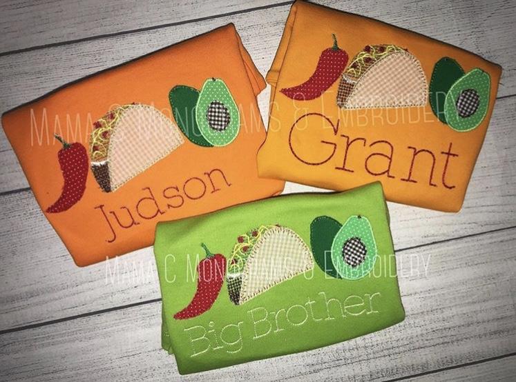 Taco applique trio embroidery design embroidery design cosellie