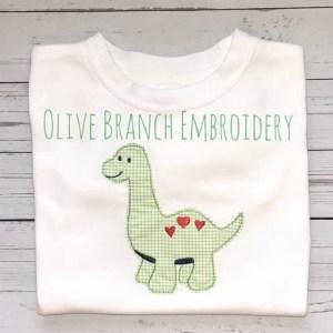 Valentines dinosaur embroidery design, Heart dinosaur, Valentines boy, Vintage stitch embroidery design, Applique, Machine embroidery design, Blanket stitch, Beanstitch, Vintage