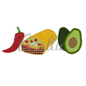 Burrito trio embroidery design, Burrito, Mexican embroidery design, Chili pepper, Avocado, Cinco de Mayo, Fiesta, Mexico, Party, Vintage stitch embroidery design, Applique, Machine embroidery design, Blanket stitch, Beanstitch, Vintage