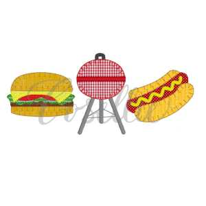 Grill trio embroidery design, Cheeseburger embroidery design, Hamburger, Hotdog embroidery design, Grill, Memorial Day, Cookout, Party, Vintage stitch embroidery design, Applique, Machine embroidery design, Blanket stitch, Beanstitch, Vintage