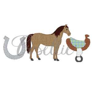 Horse trio applique embroidery design, Kentucky derby, Horse embroidery design, Farm, Horse saddle, Horseshoe, Vintage stitch embroidery design, Applique, Machine embroidery design, Blanket stitch, Beanstitch, Vintage