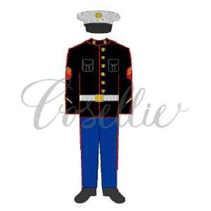 Marine uniform embroidery design, Marine embroidery design, US Marines, USA, US Military, Vintage stitch embroidery design, Applique, Machine embroidery design, Blanket stitch, Beanstitch, Vintage