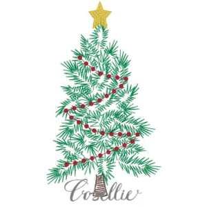 Christmas tree embroidery design, Vintage Christmas, Winter, Vintage stitch embroidery design, Applique, Machine embroidery design, Blanket stitch, Beanstitch, Vintage