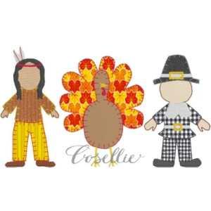 Thanksgiving boy embroidery design, Pilgrim, Indian, Turkey, Vintage stitch embroidery design, Applique, Machine embroidery design, Blanket stitch, Beanstitch, Vintage, Classic
