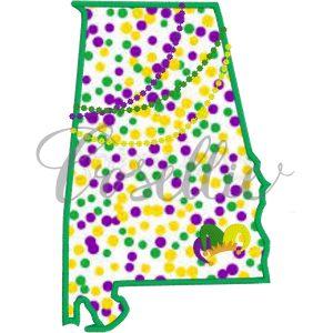 Alabama Mardi Gras embroidery design, Mardi Gras, Louisiana, New Orleans, Mardi Gras appliqué, Vintage Mardi Gras, Beads, Jester, Vintage stitch embroidery design, Applique, Machine embroidery design, Blanket stitch, Beanstitch, Vintage