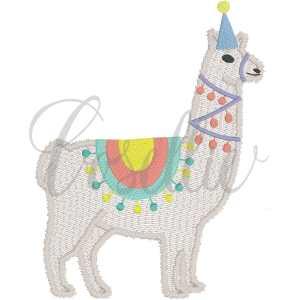Birthday llama fill embroidery design, Fiesta, Llama, Llama birthday party, Birthday, Party, Summer, Vintage stitch embroidery design, Applique, Machine embroidery design, Blanket stitch, Beanstitch, Vintage
