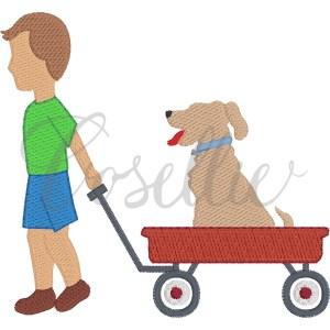 Boy Wagon Dog embroidery design, Boy and dog, Wagon, Boy embroidery design, Lab, Dog, Vintage stitch embroidery design, Applique, Machine embroidery design, Blanket stitch, Beanstitch, Vintage
