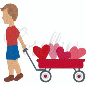 Valentines boy wagon embroidery design, boy wagon, hearts, Valentines hearts embroidery design, Valentines embroidery design, little boy, baby boy, Heart, Vintage stitch embroidery design, Applique, Machine embroidery design, Blanket stitch, Beanstitch, Vintage, Classic