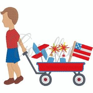 Patriotic boy wagon embroidery design, boy wagon, Flag, American flag, Fireworks, Patriotic, Pinwheel, July 4th, Memorial Day, Wagon, July 4th wagon, 4th of July wagon, Memorial day wagon, Patriotic wagon, little boy, baby boy, Vintage stitch embroidery design, Applique, Machine embroidery design, Blanket stitch, Beanstitch, Vintage, Classic