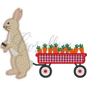 Bunny carrot wagon embroidery design, Vintage rabbit, Easter, Easter bunny, Carrots, Wagon, Bunny, Outline, Vintage stitch embroidery design, Applique, Machine embroidery design, Blanket stitch, Beanstitch, Vintage