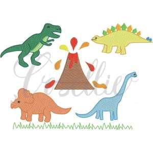 Mini dinosaurs embroidery design, Vintage dinosaurs, Mini dinosaurs, Boys, T-Rex, Stegosaurus, Brachiosaurus, Triceratops, Vintage stitch embroidery design, Applique, Machine embroidery design, Blanket stitch, Beanstitch, Vintage