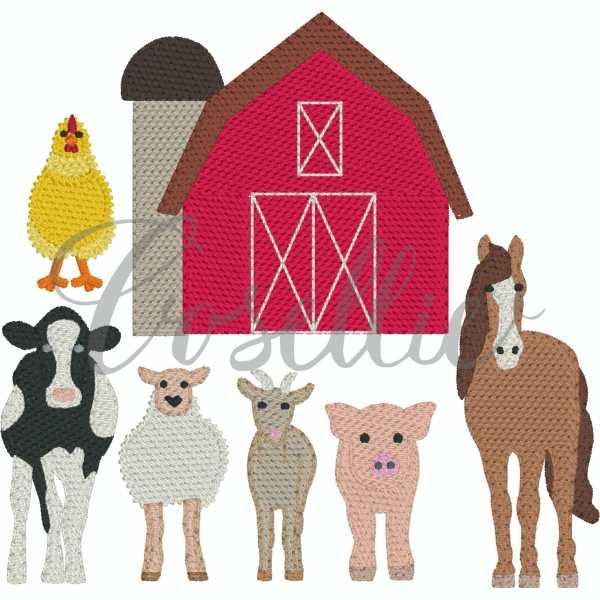 Mini farm animals embroidery designs, Farm animals, Farm, Barn, Chicken, Cow, Dairy cow, Milk cow, Sheep, Goat, Pig, Horse, Vintage, Build your own, Vintage stitch embroidery design, Applique, Machine embroidery design, Blanket stitch, Beanstitch, Vintage, Classic, Sketch