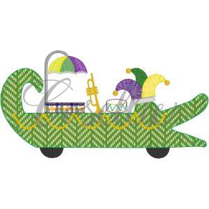 Gator float applique embroidery design, Beads, Mask, Jester hat, Trumpet, Drum, Mardi Gras parade, Vintage stitch embroidery design, Applique, Machine embroidery design, Blanket stitch, Beanstitch, Vintage