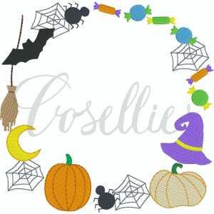 Halloween frame embroidery design, Halloween design, Witch hat, Broom, Bat, Spider, Candy, Pumpkin applique, Fall pumpkin, Fall design, Quick stitch pumpkin, Halloween, Vintage Thanksgiving, Vintage stitch embroidery design, Applique, Machine embroidery design, Blanket stitch, Beanstitch, Vintage, Classic