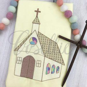 Church embroidery design, Church, Easter, Vintage church, Stained glass window, Vintage stitch embroidery design, Applique, Machine embroidery design, Blanket stitch, Beanstitch, Vintage
