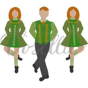 Irish dancers embroidery design, Ireland, St. Patty's, Ireland, Clog dancers, Dancer, St. Patrick's, St. Patrick's Day, St. Patty's Day, Vintage stitch embroidery design, Applique, Machine embroidery design, Blanket stitch, Beanstitch, Vintage