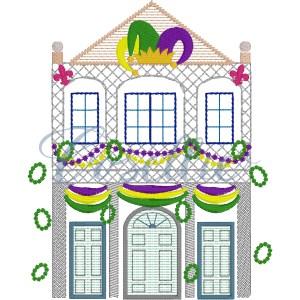 Mardi Gras house embroidery design, Mardi Gras, New Orleans, Mardi Gras appliqué, Vintage Mardi Gras, Beads, Jester, Vintage stitch embroidery design, Applique, Machine embroidery design, Blanket stitch, Beanstitch, Vintage