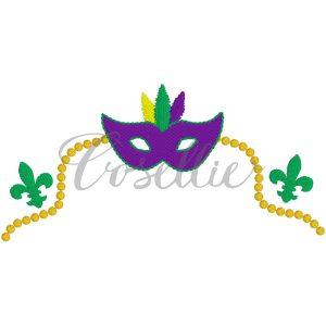 Mardi Gras frame embroidery design, Beads, Mask, Mardi Gras, Name frame, Font frame, Vintage stitch embroidery design, Applique, Machine embroidery design, Blanket stitch, Beanstitch, Vintage