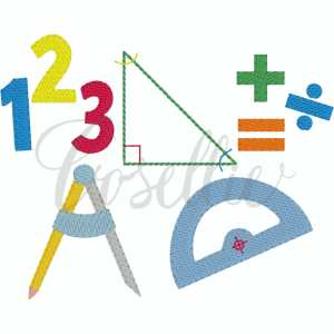 Math build your own embroidery design, Math, School, School subject, Math, Science, Numbers, Triangle, Right angle, Equation, Compass, Protractor, Backpack, Pencils, Crayons, Vintage crayons, Back to school, Vintage stitch embroidery design, Applique, Machine embroidery design, Blanket stitch, Beanstitch, Vintage, Classic