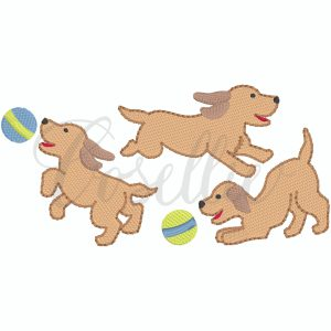 Playful puppies embroidery design, Mini puppies, Mini dogs, Puppy, Dog, Running dog, jumping dog, Downward dog, Running puppy, Jumping puppy, Downward puppy, Ball, Vintage stitch embroidery design, Applique, Machine embroidery design, Blanket stitch, Beanstitch, Vintage, Classic