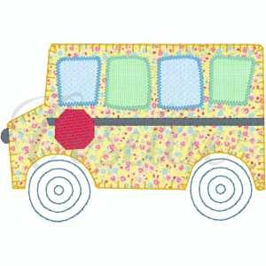 School bus embroidery design, Bus, Apple, School bus, apple, crayons, Back to school embroidery design, Vintage stitch embroidery design, Applique, Machine embroidery design, Blanket stitch, Beanstitch, Vintage, Classic