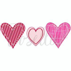 Simple heart applique embroidery design, hearts, Valentines hearts embroidery design, Valentines embroidery design, Heart, Vintage stitch embroidery design, Applique, Machine embroidery design, Blanket stitch, Beanstitch, Vintage, Classic