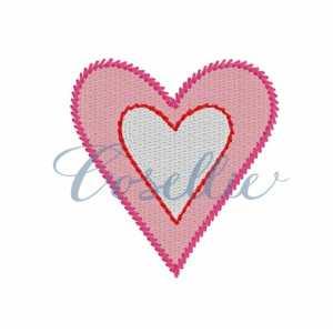 Mini double heart embroidery design, Heart applique, Valentines hearts, Mini, Vintage stitch embroidery design, Applique, Machine embroidery design, Blanket stitch, Beanstitch, Vintage