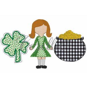 St. Patty girl trio embroidery design, Leprechaun, Pot of gold, Four leaf clover, Vintage stitch embroidery design, Applique, Machine embroidery design, Blanket stitch, Beanstitch, Vintage