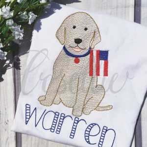 Patriotic Lab boy embroidery design, Lab, Dog, Dog with flag, American flag, July 4th, Vintage Memorial Day, Patriotic, Fireworks, Vintage stitch embroidery design, Applique, Machine embroidery design, Blanket stitch, Beanstitch, Vintage