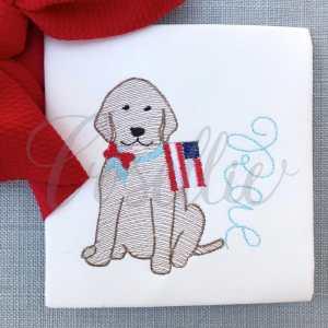 Patriotic Lab girl embroidery design, Lab, Dog, Dog with flag, American flag, July 4th, Vintage Memorial Day, Patriotic, Fireworks, Vintage stitch embroidery design, Applique, Machine embroidery design, Blanket stitch, Beanstitch, Vintage