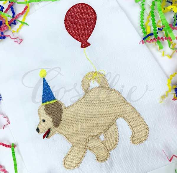 Birthday balloon puppy embroidery design, Birthday dog, Birthday puppy, Bichon, Puppy dog, Dog, Girl dog, Girl puppy, Boy dog, Boy puppy, Boy, Vintage stitch embroidery design, Applique, Machine embroidery design, Blanket stitch, Beanstitch, Vintage, Classic