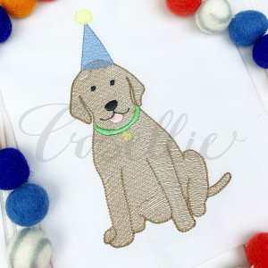 Birthday lab boy embroidery design, Birthday dog, Birthday puppy, Labrador, Puppy dog, Dog, Girl dog, Girl puppy, Boy dog, Boy puppy, Boy, Vintage stitch embroidery design, Applique, Machine embroidery design, Blanket stitch, Beanstitch, Vintage, Classic