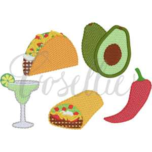 Taco build your own embroidery design, Taco twosday, Mini taco, taco, avocado, margarita, burrito, pepper, Birthday, Vintage fiesta, Birthday party, First birthday, Vintage stitch embroidery design, Applique, Machine embroidery design, Blanket stitch, Beanstitch, Vintage