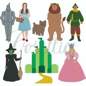 Wonderful Wizard of Oz sketch embroidery design, Build your own, Glinda, Elphaba, Toto, Mini, Dorothy, Tin Man, Lion, Scarecrow, Wizard of oz, Vintage stitch embroidery design, Applique, Machine embroidery design, Blanket stitch, Beanstitch, Vintage, Classic, Sketch