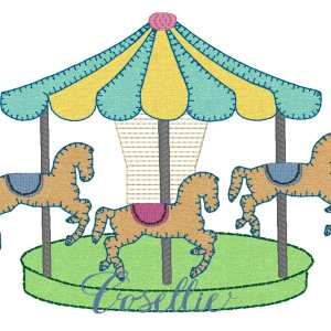 Carousel embroidery design, Carnival, Carousel, Baby, Vintage stitch embroidery design, Applique, Machine embroidery design, Blanket stitch, Beanstitch, Vintage