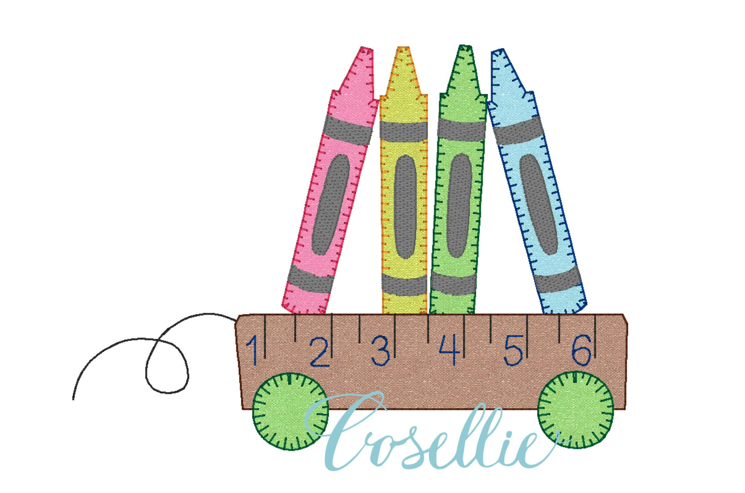 Crayons wagon embroidery design school embroidery design cosellie